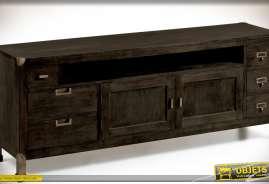 Grand meuble TV de style ancien et industriel en bois de mindi massif finition brun très foncé