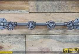 Porte-manteaux à 4 patères style plomberie indus en métal gris anthracite vieilli
