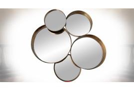 Composition de miroirs circulaires multiples, style  industriel, en métal doré et vieilli