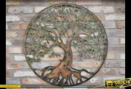 Fresque murale ronde en métal représentant un grand arbre avec finition métal vieilli et corrodé