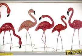 Décoration murale en relief et en métal : flamants roses