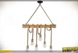 Suspension originale en bois et cordes à forte section de style rustique avec six ampoules