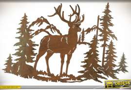 Fresque murale en métal style montagne motif cerf et forêt de sapins 70 x 46 cm