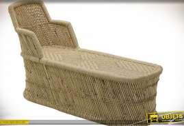 Fauteuil chaise-longue en bambou et cordage de style vintage et exotique esprit lounge 1950