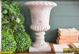 Vase imitation pierre blanche effet sablé de style Médicis 44 cm Ø 30 cm