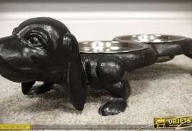 Gamelle décorative avec de bols en inox, support en forme de chien en fonte finition noir