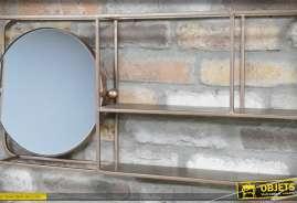 Etagère murale industrielle en métal avec 2 plateaux et un miroir circulaire, teinte Champagne cuivré