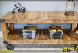 Meuble TV à roulettes, style industriel et rustique, en bois vieilli et métal, avec deux plateaux