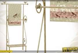 Porte-serviette en métal patine crème antique avec étagère