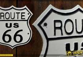 Déco métal signe Route 66 US
