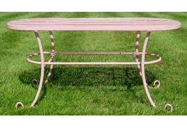 Table de jardin en métal modèle bas, en métal esprit fer forgé, finition rose chaud et doux