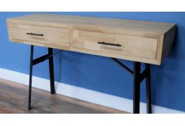 Console / bureau d'appoint en bois clair et métal noir charbon, ambiance linéaire avec 2 tiroirs de rangement