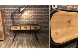Bureau style rétro et industriel en bois et métal avec 3 tiiroirs