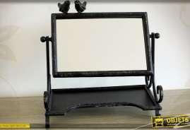 Miroir de table pivotant avec tablette style rétro coloris noir antique