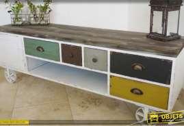 Meuble TV wagonnet de style industriel patine multicolore