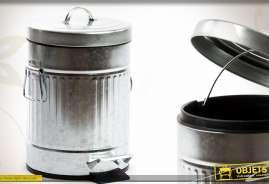 Poubelle de cuisine de style rétro, à pédale, en métal imitation zinc ancien