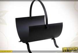 Porte-bûches en métal noir antique style rétro