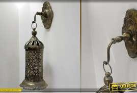 Lanterne de style oriental avec son support mural, aspect moucharabieh et finition bronze antique