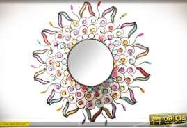 Miroir en métal et ornementations en acrylique, inspiration style indien façon Bollywood