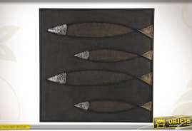 Tableau moderne de poissons, coloris noir, agenté et doré.