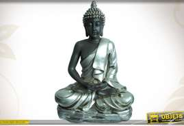 Statue de Buddha en résine, position de méditation, coloris argent.