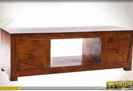 Meuble TV à 2 tiroirs en bois massif de sheesham coloris brun antiquaire