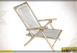 Fauteuil relaxant en bambou avec toile 100% coton blanc et coussin de tête.