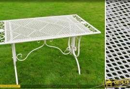 Table basse coloris blanc en métal et fer forgé style rétro et charme