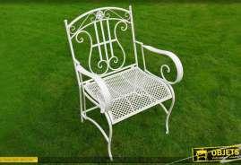 Fauteuil en métal et fer forgé, coloris blanc antique style romantique