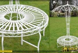 Banc de jardin rond en métal et fer forgé avec protection en forme de grande ombrelle