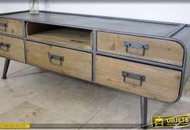 Meuble TV de style industriel et vintage en bois et métal