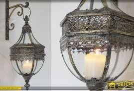Lanterne de style ancien avec sa potence de suspension murale finition laiton doré