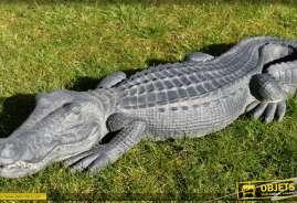 Décoration de parc et jardin : grande statuette de crocodile imitation pierre