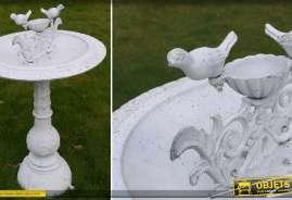 Bain d'oiseaux en fonte et métal finition blanc antique