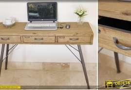 Bureau à 3 tiroirs de style vintage en bois massif et métal finition anthracite