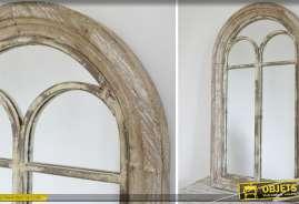 Miroir fenêtre de style brocante et rétro avec fronton en arcade 94 cm