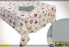 Nappe en coton en 250 x 150 cm à motifs de hiboux et chouettes avec 8 serviettes grises en coton