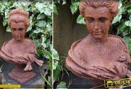 Sculpture en métal finition oxydée : Buste de jeune femme