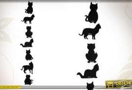 Ensemble de 7 tableaux noirs en formes de silhouettes de chats.
