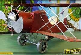 Avion décoratif géant en métal en forme de biplan rouge rétro