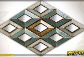 Très grande déco murale en métal et miroirs style Art Déco à motifs en losanges