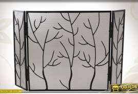 Pare-feu de cheminée à 3 volets, réalisé en métal noir, design branches.