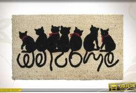 Tapis de propreté en fibres de coco et latex, motifs chats.