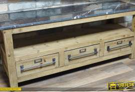 Meuble pour téléviseur, réalisé en bois et pourvu de 3 tiroirs, avec plateau marbré.