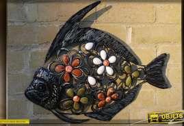 Grand poisson déco mural multicolore