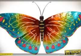Grande décoration murale en métal. Papillon multicolore.