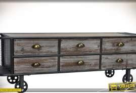 Meuble télé en bois et métal de style rétro et industriel avec 6 tiroirs en façade