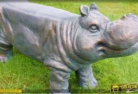 Tabouret banc en résine haute densité, finition bronze vieilli, en forme de statuette d'hippopotame