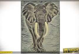 Grand tableau mural en relief et en métal : éléphant d'Afrique