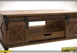 Table meuble TV en bois et métal style rustique, sur roulettes